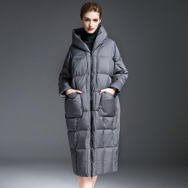 2018 зимние женские модные с капюшоном 90% белая утка вниз, легкий пуховая куртка толще и длиннее выше колен женские пуховик W78006