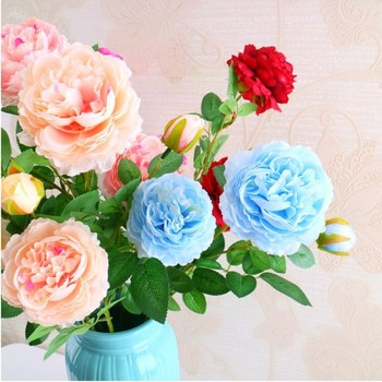 European Rose Peony 3 Heads Core Artificial Flower Bouquet for Home Ornament and Wedding Decoration Supplies 6 Colors Available