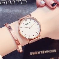 GIMTO Brand Dress Bracelet Women Watches Steel Ladies Quartz Luxury Clock Sport Lovers Gold Watch Waterproof