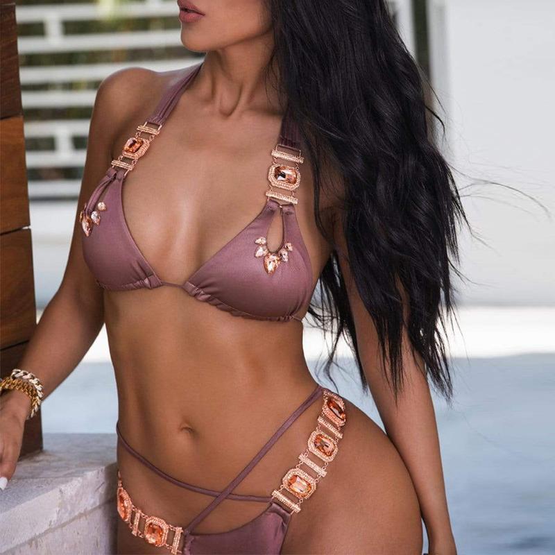 Sexy cristal diamant Bikini 2019 femme licou Bandeau maillot de bain femmes maillot de bain brésilien deux pièces Bikini ensemble string maillot de bain