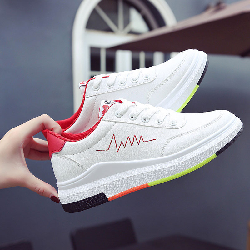Women sneakers 2018 new fashion PU Leather spring women shoes tenis feminino mixed color lace-up wedges shoes woman 2018 new spring tenis feminino lace up shoes woman pu leather solid color female shoes casual women shoes sneakers hot sale