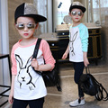 Nova Primavera 2016 Do Bebê Camisas de T para meninas de Algodão de Manga Longa coelho dos desenhos animados Imprimir Marca Tees Primavera Miúdos bonitos Tops T-shirt Da Menina