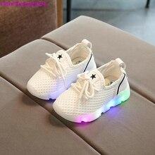 HaoChengJiaDe Enfants LED Sneakers Enfant En Bas Âge Respirant Enfants Étoiles Lumineux Filles Sport chaussures pour Garçons Chaussures avec lumière UE 21-30
