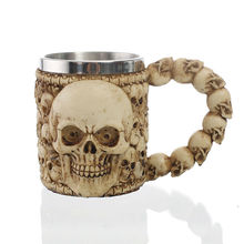 3D Design 350ml Bad To The Bone Skull Mug 12oz Double Wall Coffee Cup Tea Cup particular handled skull design 400ml wine coffee tea cup