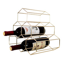 Nordic Style Golden Iron Art Creative Honeycomb Wine Rack Home Decoration