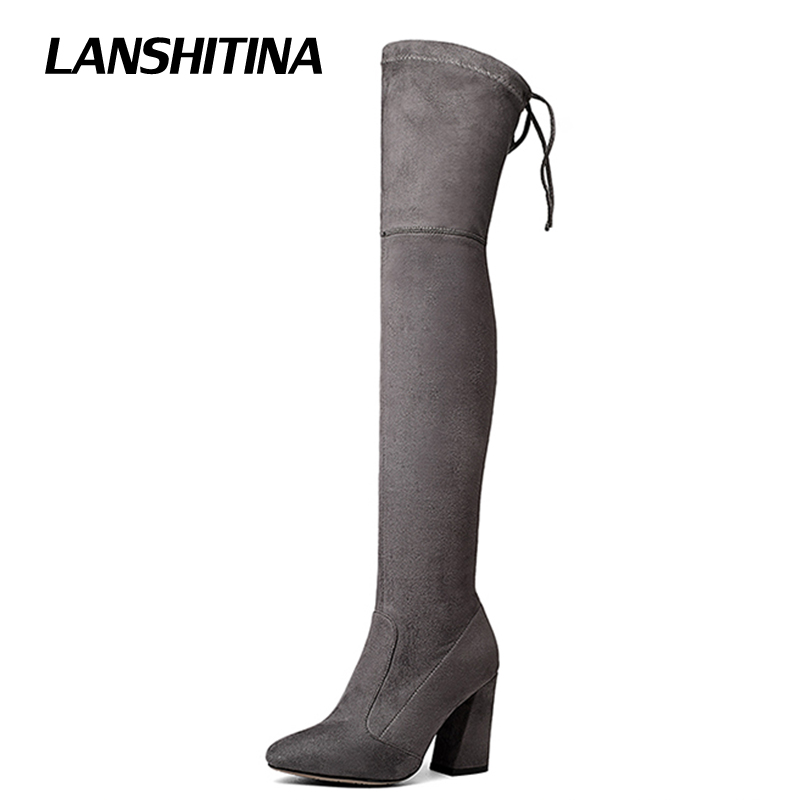 LANSHITINA High Heel Boot Over Knee Boots Women Pointed Boots Long Woman Riding Boot Fashion Autumn Winter Multicolor Shoes Y01