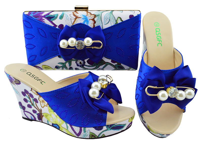 2018 Royal Blue Italian Shoes with Matching Bags African Women Italian Shoes and Bag Set Nigerian Women Wedding Shoes MM1063 стоимость