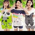 2017 Verano pijamas cortos señoras de la historieta linda de algodón de manga corta floja de gran tamaño pijamas