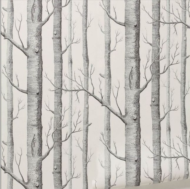 Aliexpress Buy Birch Tree Pattern Non Woven Woods Wallpaper Roll Modern Designer Wallcovering Simple Black And White For Living Room From