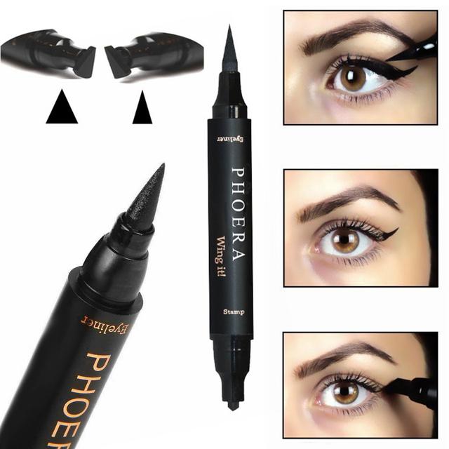 Double-Headed Seal Black Eyeliner Triangle Seal Eyeliner 2-in-1 Waterproof Eyes Make kit with Eyeliner Pen Eyeliner Stamp