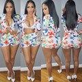 2016 новая мода осень 2 piece set женщины с длинным рукавом и шорты наборы сексуальный зубчатый ансамбль femme vestidos печати сексуальный тонкий