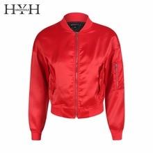 HYH HAOYIHUI 2018 Autumn Solid Red Women Bomber Jacket Character Print Pockets Casual  Coat Zipper Streetwear Female