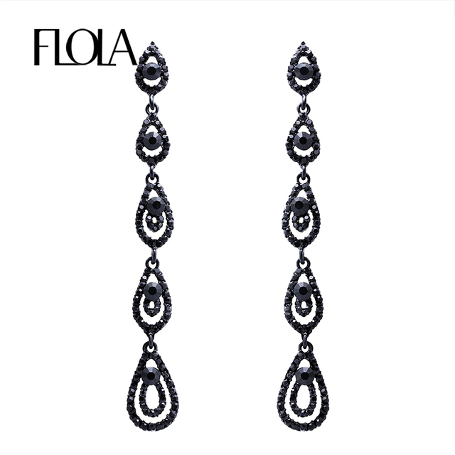 Flola Fashion Black Long Earrings Tear Drop Crystal For Women Party Jewellery