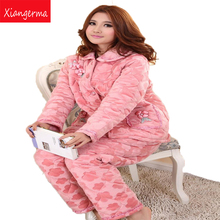 Xiangerma Winter Coral Velvet Quilted Pajamas Ms. Winter Thick Quilted Flannel Pajama Suit Tracksuit Female Models
