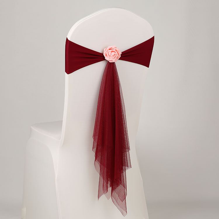 Бордовый цвет спандекс пояса с розой мяч искусственный цветок и органза стул створки Свадебные лайкра галстук-бабочка band оптом