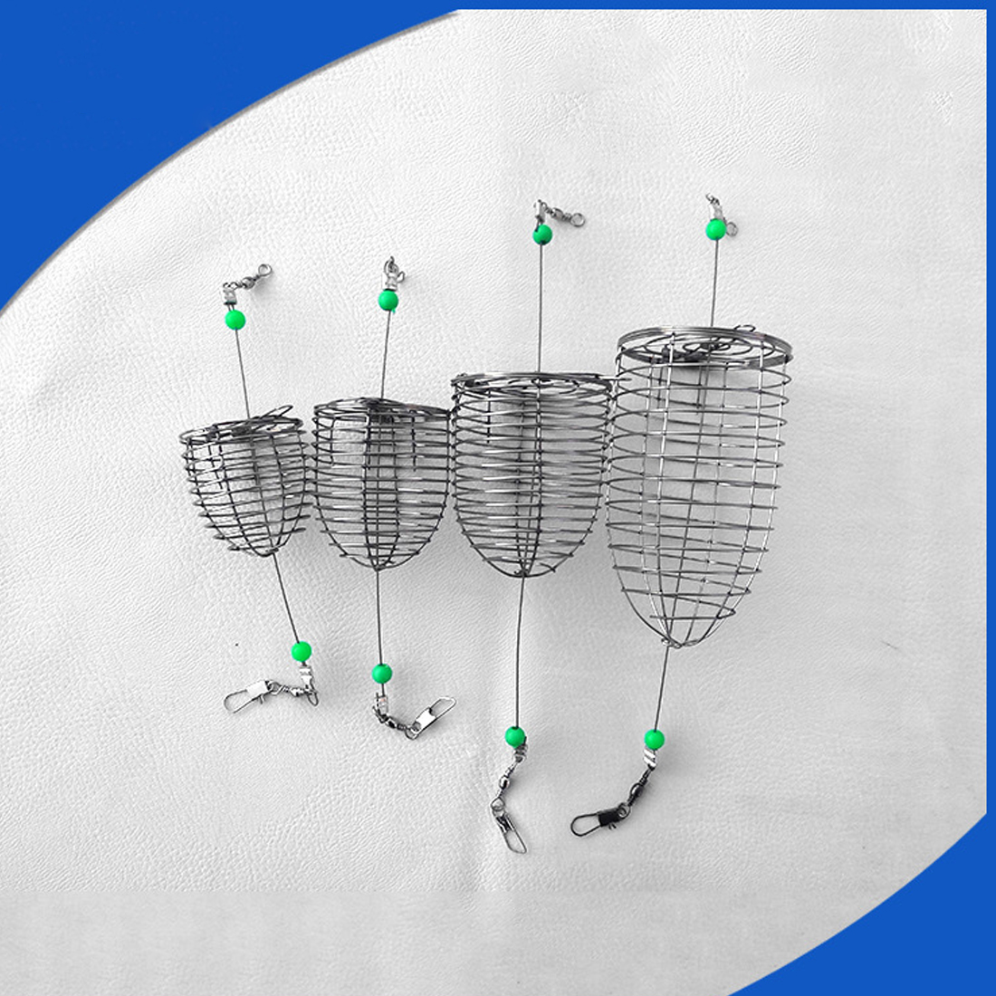 5Pcs Stainless Steel Wire Fishing Lure Cage Small Bait Basket Feeder Holder Trap