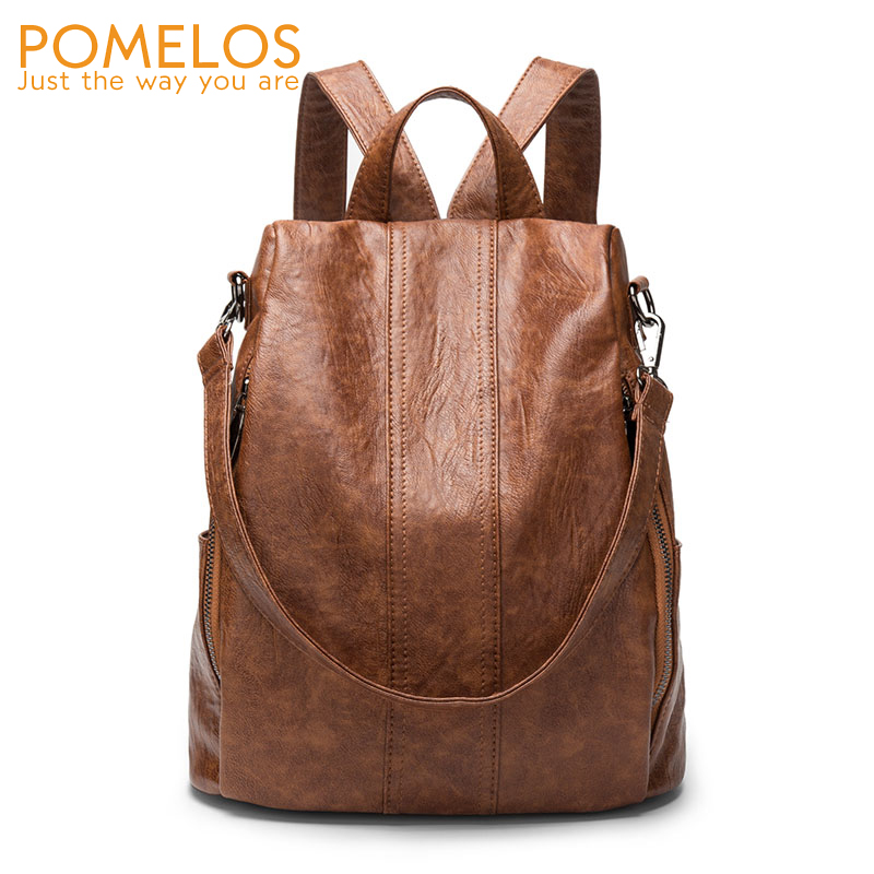 Pomelos Backpack Women Leather Pu New Vintage Women Anti Theft Travel Backpack Back Pack School Bags For Teenage Girls Bagpack