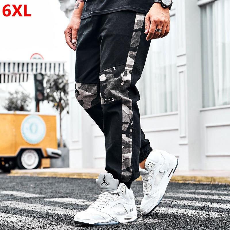 Large size men's stitching sports pants men's tide plus size casual trousers plus size camouflage sports pants beam