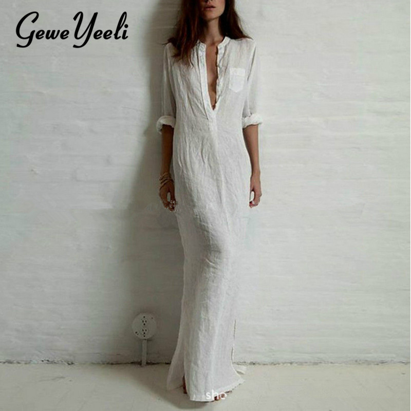 2018 Women Retro Long Maxi Dress Elegant Sexy Ladies Long Sleeve V neck Long Line Split Solid Shirt Dress Plus Size Sundress