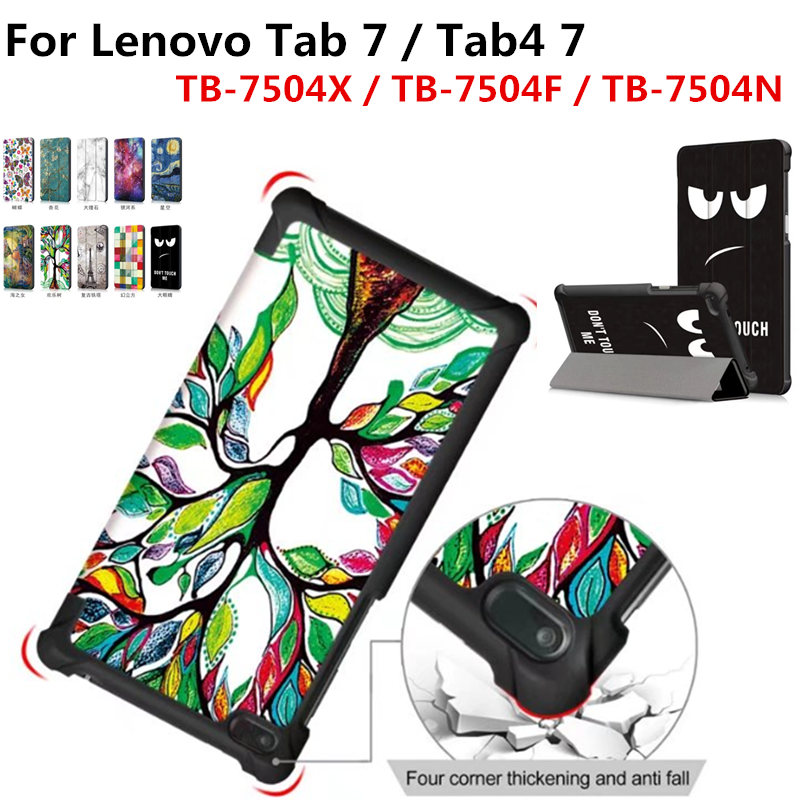 Tab4 7.0 inch TB-7504 PU Leather Print Cover Stand Protective Skin Case for Lenovo tab 4 7 TB-7504F/TB-7504N/TB-7504X Tablet new print luxury magnetic folio stand fashion prints flower leather case cover for lenovo tab 3 8 plus tab3 p8 tb 8703f tb 8703n