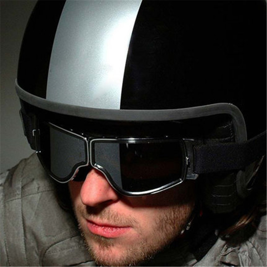 Latest Vintage Leather Motorcycle Goggles Collapsible Goggles Vintage Motorcycle Glasses Jet Pilot 4 Color Sunglasses