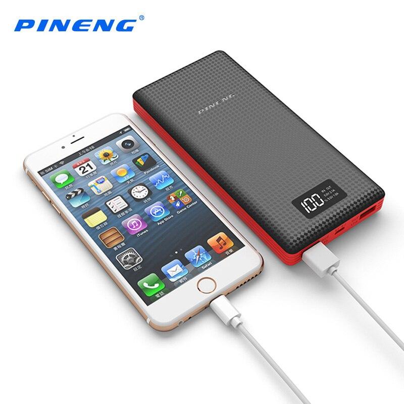 imágenes para PINENG Banco de la Energía 20000 mah Móvil Cargador Rápido LCD Batería Externa Portátil Dual USB Li-Polímero Powerbank para el iphone Xiaomi