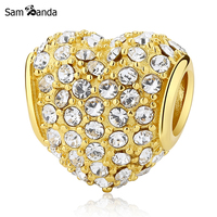 Authentic 100 925 Sterling Silver Charm Bead Pave Heart Charms Crystals Golden Fit Pandora Bracelets Diy