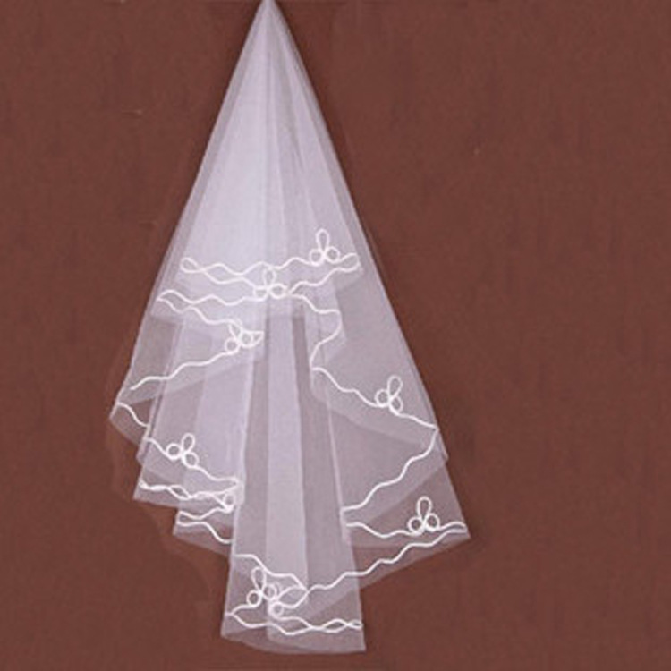 Women Pearl Bridal Veils Wedding Dress Veil Layers Tulle Ribbon Edge Wedding Accessories