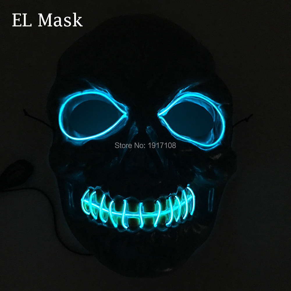 Free shipping Scary Halloween mask 10 color available EL Mask Steady on Flashing LED Neon mask Fashion mask for party Decoration