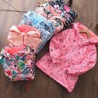 2019 new best selling long hooded rainproof outdoor flowers girls coat. warm long sleeved plus velvet windbreaker