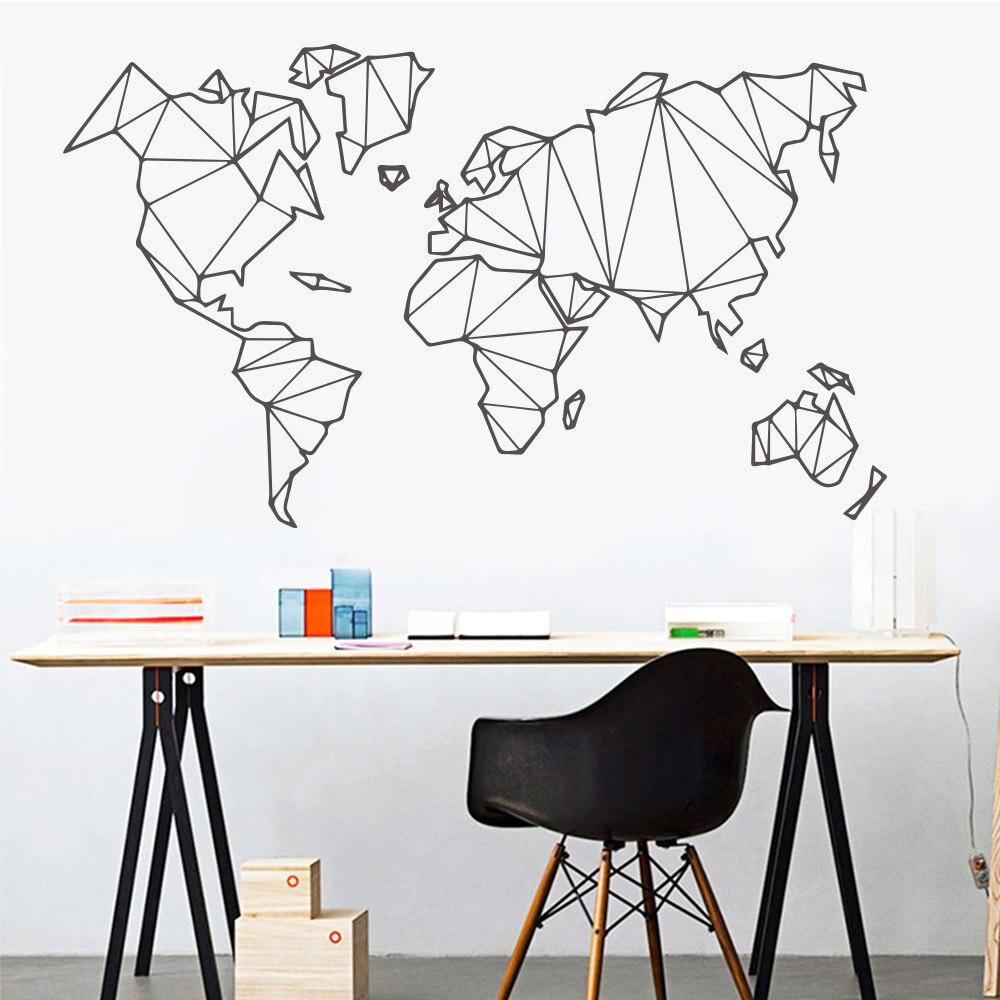 Grote Muurstickers Woonkamer.Grote Maat Geometrische Wereldkaart Muursticker Vinyl Mural Verwijderbare Stickers Thuis Woonkamer Decoratie Accessoires Slaapkamer Decor