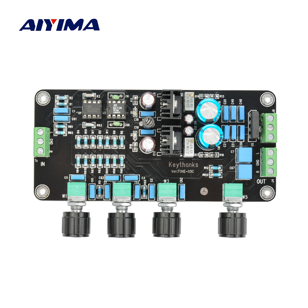 Aiyima Pre amplifier music Volume Tone Control Board Fever op amp preamplifier 2604 AD827 AC Dual 15V-20V брюки turbokolor carrot fit ss13 mustard 36 34