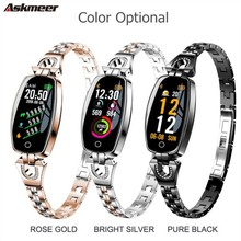 ASKMEER H8 Ladies Bluetooth Smart Watch IP67 Waterproof Color Screen Bracelet Heart Rate Blood Pressure Monitoring