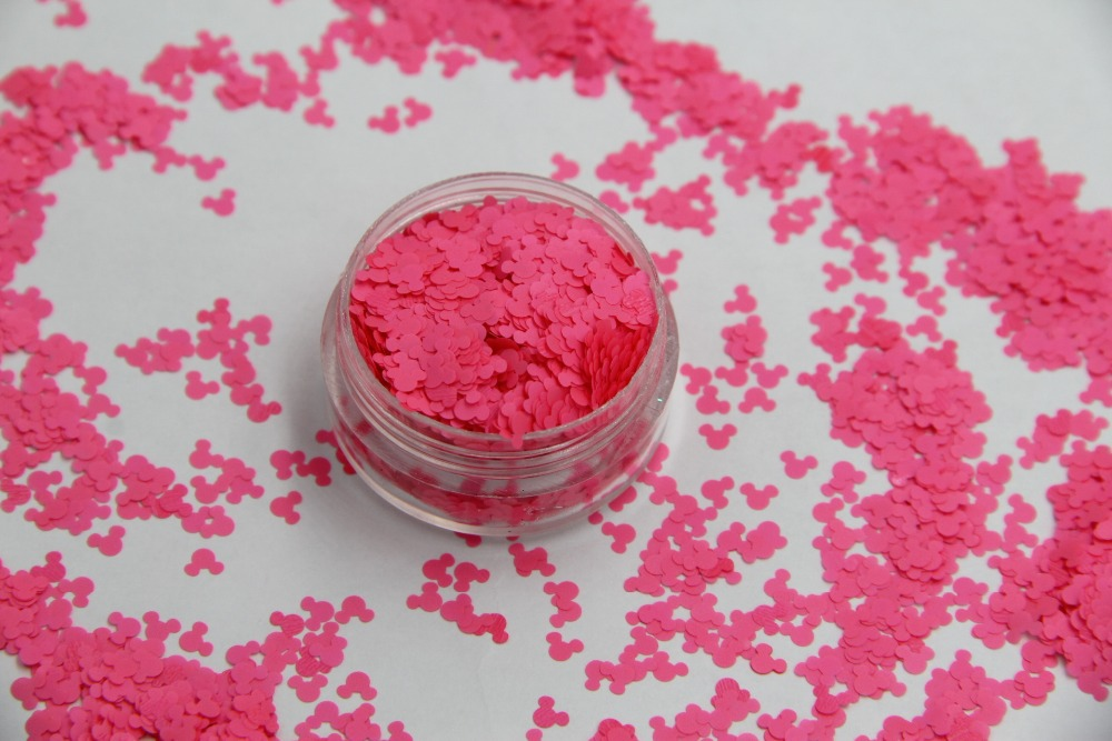 TCF502 Solvent resistant Shocking Neon  Pink Color Mickey Mouse shape Spangles for Nail Polish Other DIY decoration 1Pack =50g