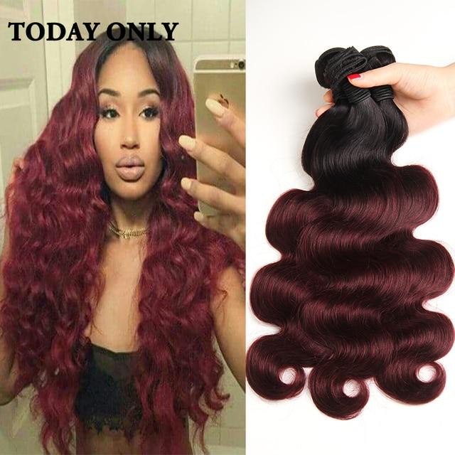 Ombre Brazilian Hair Weave Bundles 12b 12j Burgundy Brazilian ...