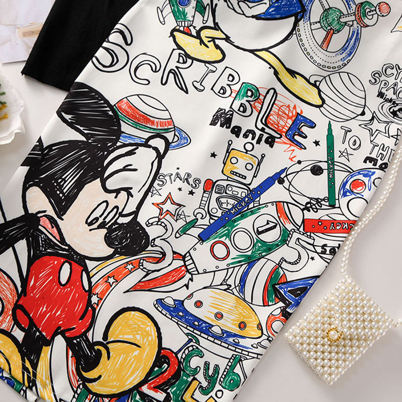 Cartoon Mouse Print High Waist Slim Skirts Young Girl 13