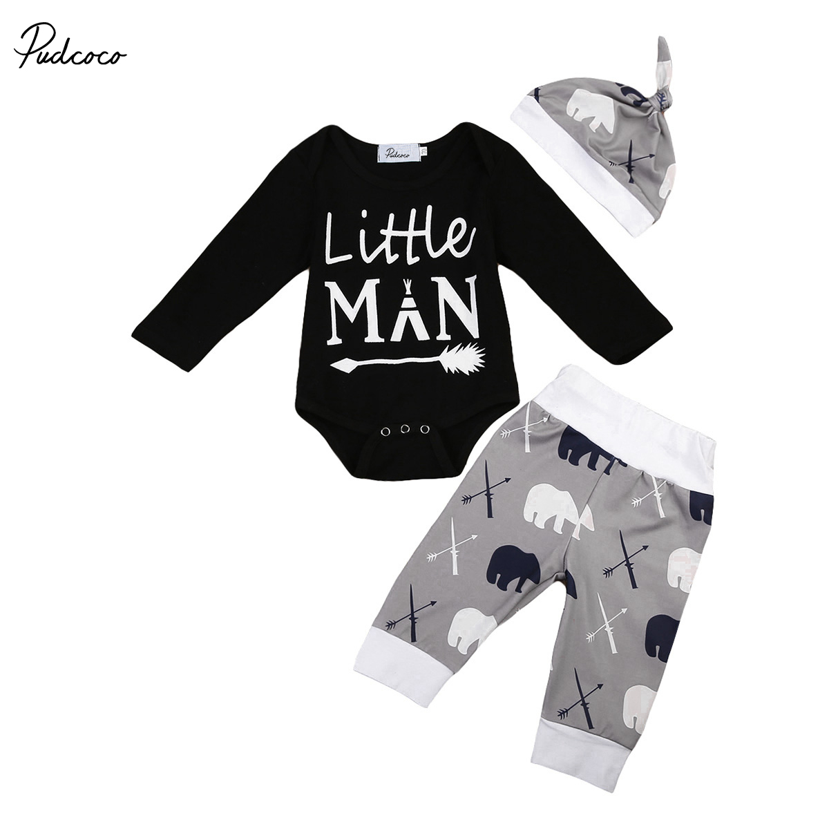 3PCS Set Newborn Baby Boy Winter Clothes Cotton Romper Jumpsuit + Long Pants + Hat Cotton Little Man Outfits Letter Printed 0 24m newborn infant baby boy girl clothes set romper bodysuit tops rainbow long pants hat 3pcs toddler winter fall outfits