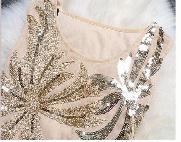 для женщин крем винтаж 1920-х хлопушки великий гэтсби бахр платье с тазика Blast рукавов о средства ухода за кожей шеи миди платье vestidos де Фиеста
