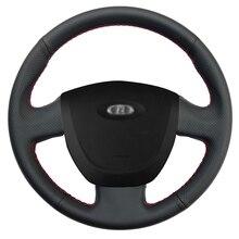 Hand-stitched Black Artificial Leather Anti-slip Car Steering Wheel Cover for Lada Granta 2011 2012 2013 2014 2015 2016 hand stitched black leather steering wheel cover for kia sorento 2009 2014