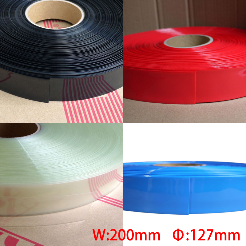 1M Blue Black Clear 200mm Width 127mm Dia Battery Pack DIY Insulation Protective Casing PVC Heat Shrink Tubing Shrinkable Tube 1mm dia heat shrinkable tube shrink tubing red 20m