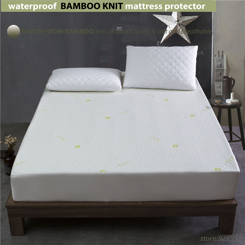 160X200cm 1.6bed waterproof Beautiful Bamboo Jacquard mattress Protector jacquard cloth100% Waterproof W009 A
