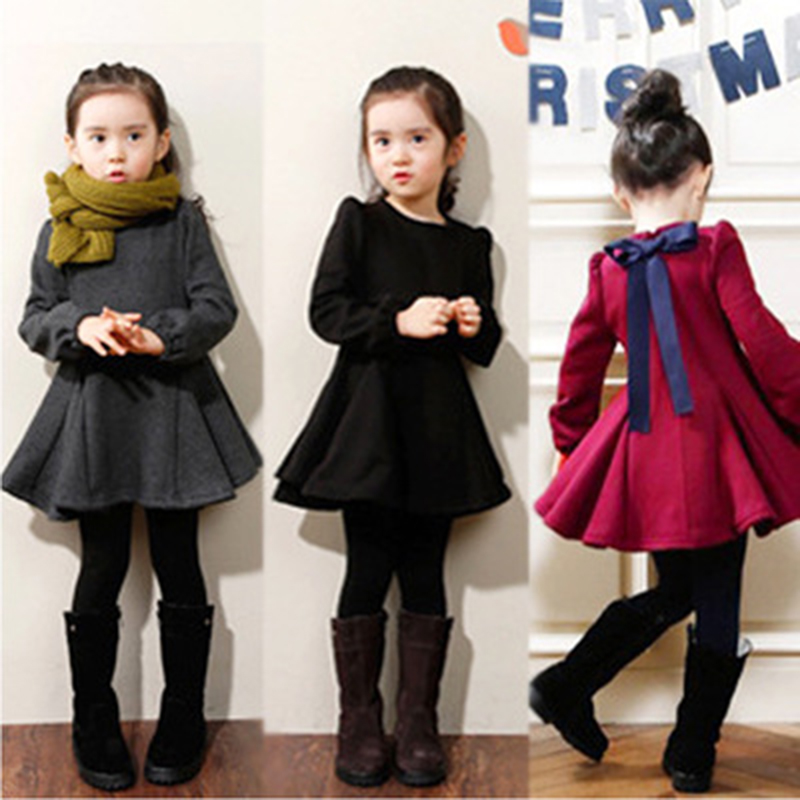Платье для маленьких девочек, осенне зимняя одежда, Плотная хлопковая Повседневная однотонная детская одежда в Корейском стиле для маленьких девочек 3, 4, 5, 6, 8, 10 лет