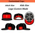 50 шт./лот Пользовательские Бейсболка, Шляпка Акриловые 3D Вышивка 6 Панелей Snapback Взрослых Мужчины Женщины Дети Команды Шляпы Бесплатная Доставка