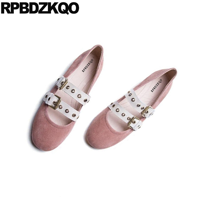 Nude Cute Metal Ballet Round Toe Suede Designer Ladies Beautiful Flats Shoes Mary Jane 2018 Pink Ballerina Japanese Strap Belts
