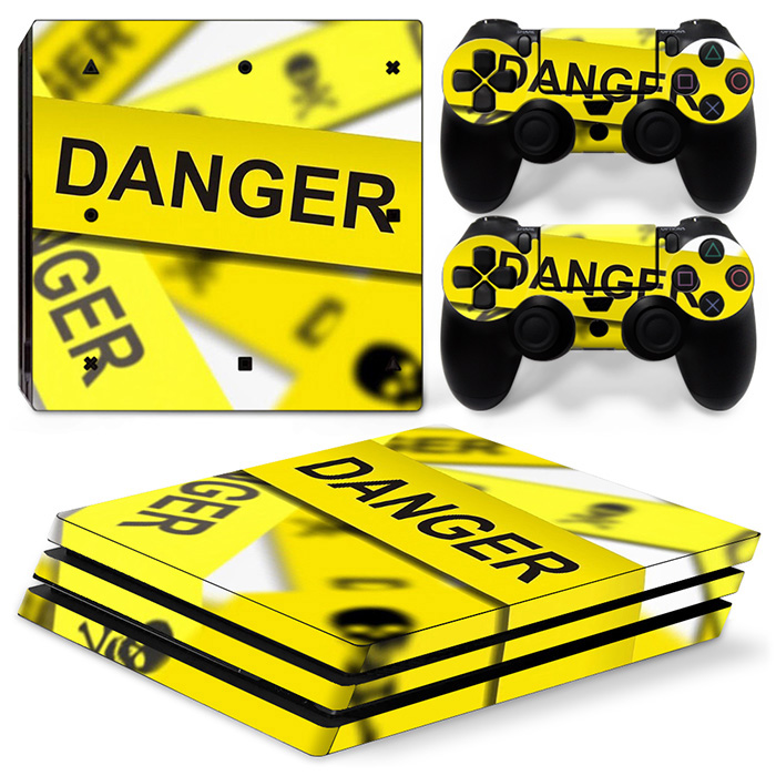 Danger Skin Sticker for PS4 PRO Console and 2 Controllers