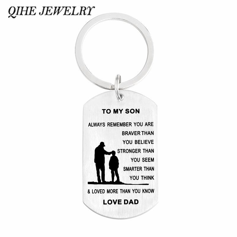 Qihe Jewelry персонализированные брелок с dog tag Вы храбрее, сильнее, умнее дочке, к сыну подарок брелок
