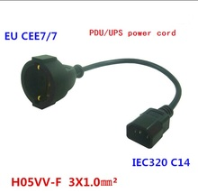 IEC 320 C14 3Pin Male Plug to CEE 7/7 European Female Schuko Socket Adapter Cable  FOR UPS/PDU Extension  Power Cord