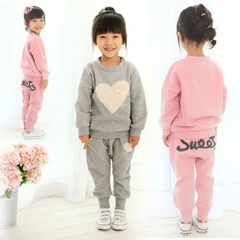 Love Kids Girls Track Suit Clothes Sets Baby Girl Long Sleeve + Pant Set Children Sports Kids Clothing Sets Z224