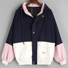 Telotuny Женская одежда оверсайз женское ветрозащитное пальто куртка-бомбер для женщин размера плюс Вельветовая Лоскутная куртка для женщин JL 18