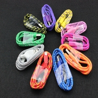 10pcs Colorfulround Braided Fabric Micro USB Cord Data Sync Charger Cable For Samsung For LG Phone